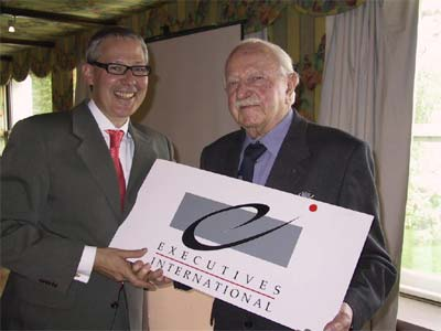 Mr. Maurice Raphäel, Founder and Honorary President of Executives International with Mr. Marco Baiguini  (President 2004-2008)